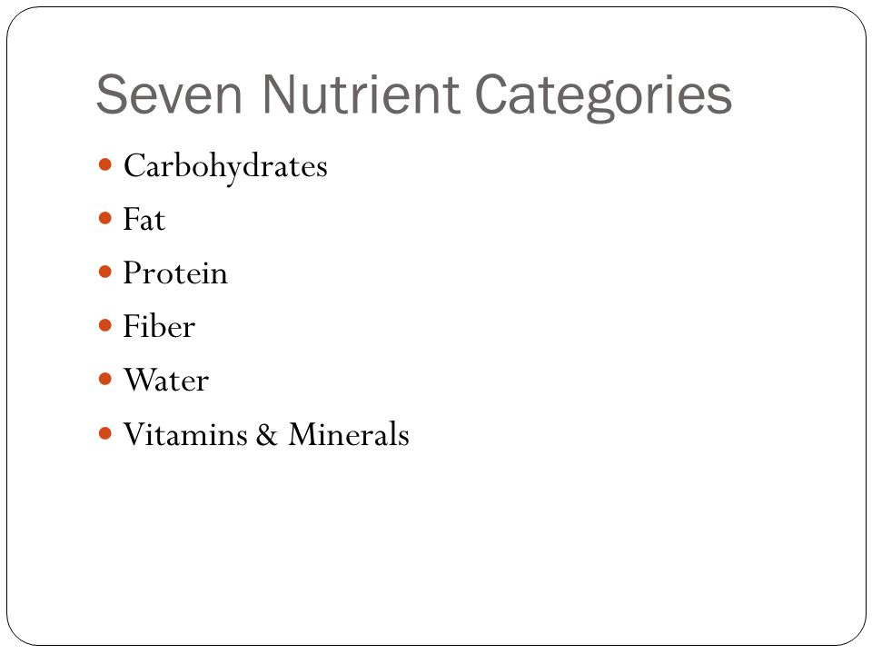 Seven Nutrient Categories Carbohydrates Fat Protein Fiber Water Vitamins & Minerals