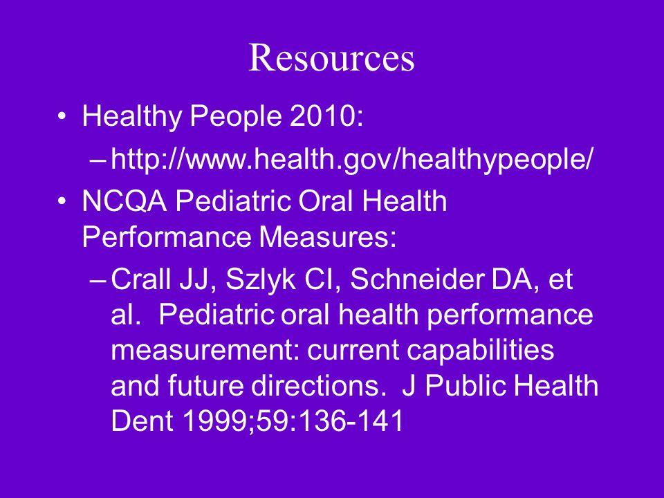 Resources Healthy People 2010: –http://www.health.gov/healthypeople/ NCQA Pediatric Oral Health Performance Measures: –Crall JJ, Szlyk CI, Schneider DA, et al.