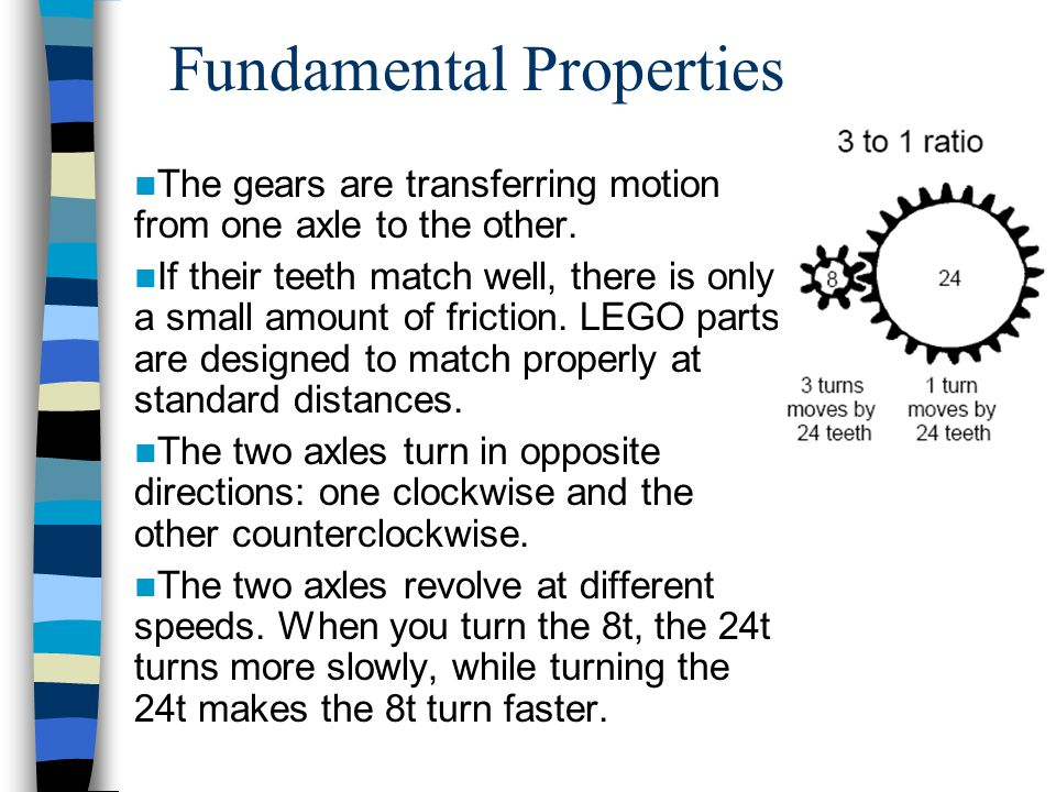 Fundamental Properties The gears are transferring motion from one axle to the other.