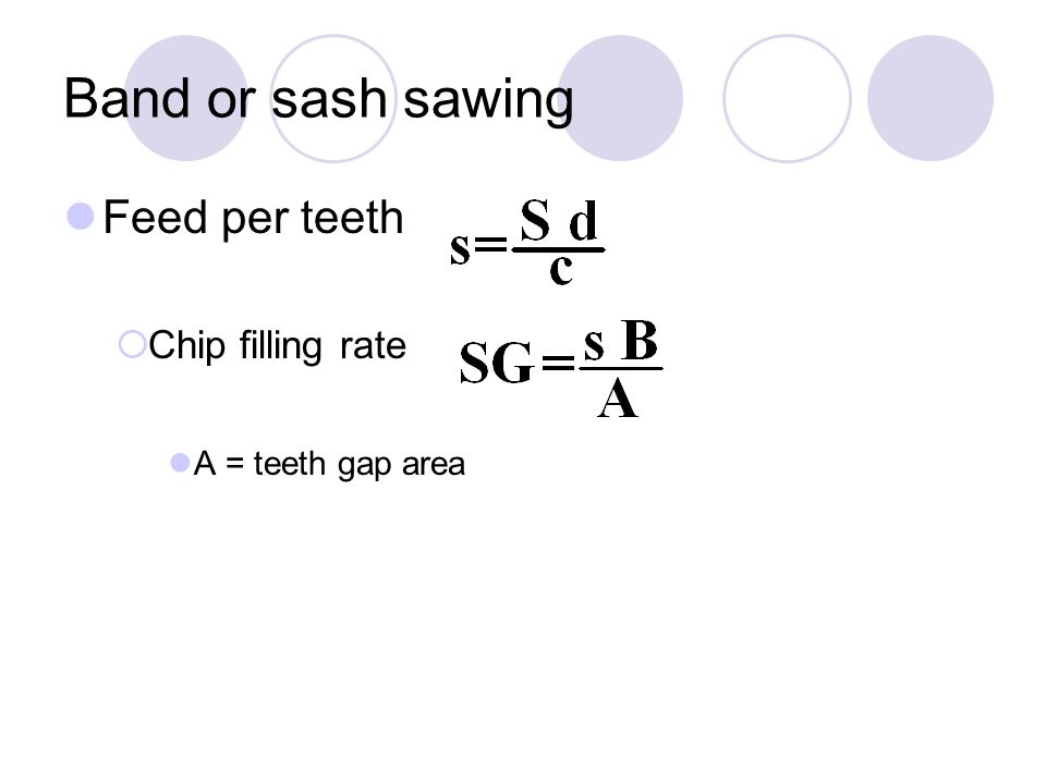 Band or sash sawing Feed per teeth  Chip filling rate A = teeth gap area