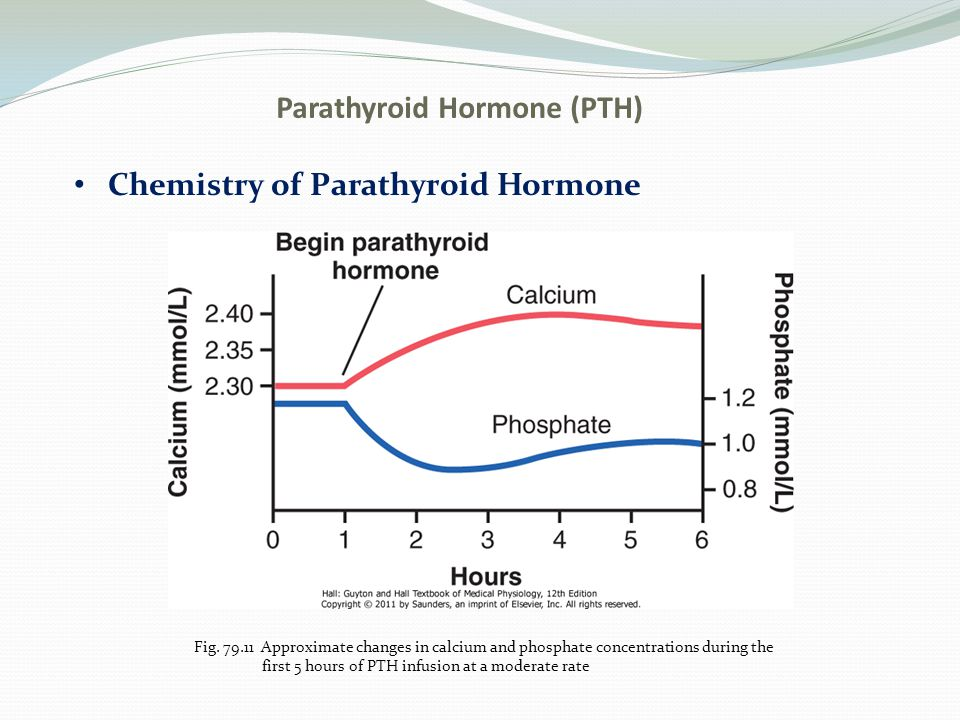 Parathyroid Hormone (PTH) Chemistry of Parathyroid Hormone Fig. 79.11 Approximate changes in calcium and phosphate concentrations during the first 5 h