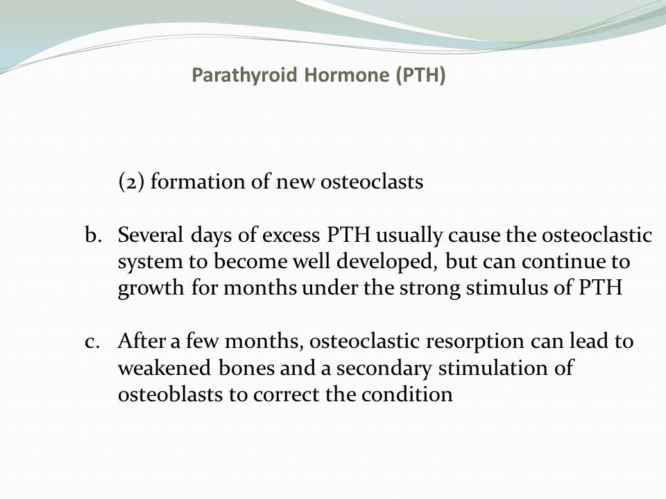Parathyroid Hormone (PTH) (2) formation of new osteoclasts b.Several days of excess PTH usually cause the osteoclastic system to become well developed