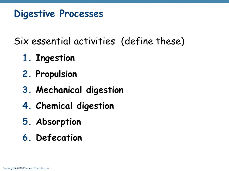 Copyright © 2010 Pearson Education, Inc. Digestive Processes Six essential activities (define these) 1.Ingestion 2.Propulsion 3.Mechanical digestion 4