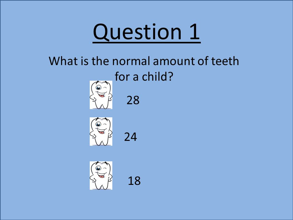 Question 1 What is the normal amount of teeth for a child? 28 24 18