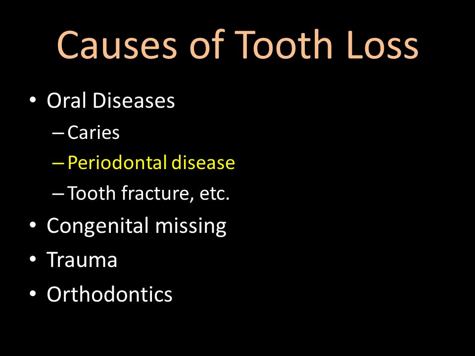 Causes of Tooth Loss Oral Diseases – Caries – Periodontal disease – Tooth fracture, etc.