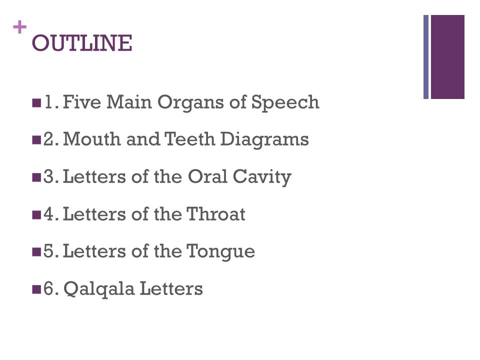 + Letters of the Tongue Extreme back of the tongue rises Touches the SOFT palate Voiced Air Flow stops at Makhraj Middle of tongue does not rise Qalqala Back of the tongue rises Touches HARD palate Voiceless Air flow stops at Makhraj Can NOT have qalqala ق ك