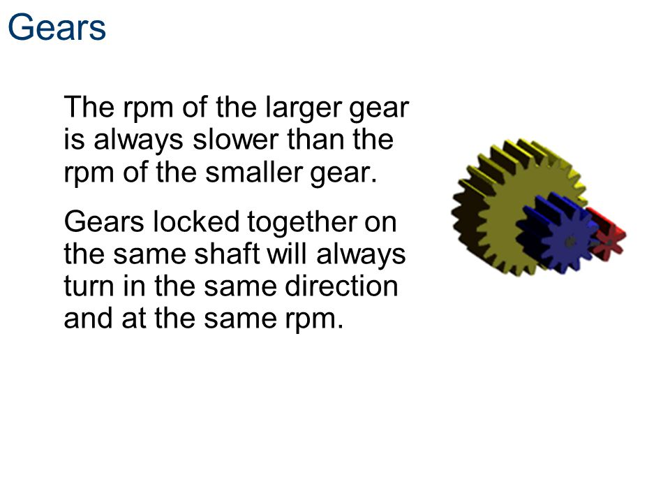 Gear Ratios Variables to know n = number of teeth d = diameter w = angular velocity (speed) t = torque ** Subscripts in and out are used to distinguish between gears ** 4 n in = d in = w in = t in = 6 2in.