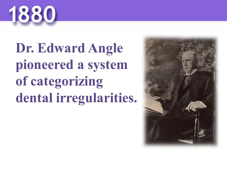Dr. Edward Angle pioneered a system of categorizing dental irregularities.