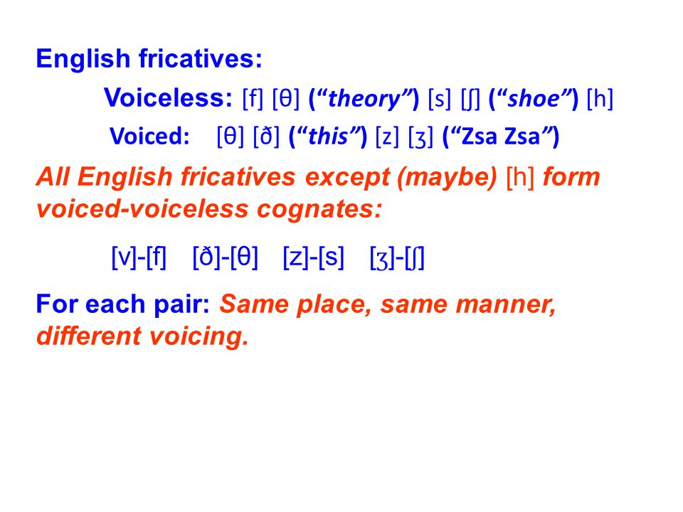 English fricatives: Voiceless: [f] [θ] ( theory ) [s] [ʃ] ( shoe ) [h] Voiced: [θ] [ð] ( this ) [z] [ʒ] ( Zsa Zsa ) All English fricatives except (maybe) [h] form voiced-voiceless cognates: [v]-[f] [ð]-[θ] [z]-[s] [ ʒ ]-[ ʃ ] For each pair: Same place, same manner, different voicing.