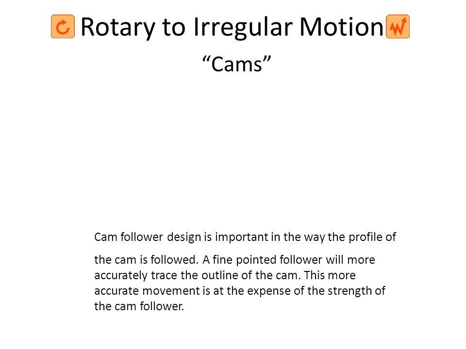 Rotary to Irregular Motion Cam follower design is important in the way the profile of the cam is followed. A fine pointed follower will more accuratel