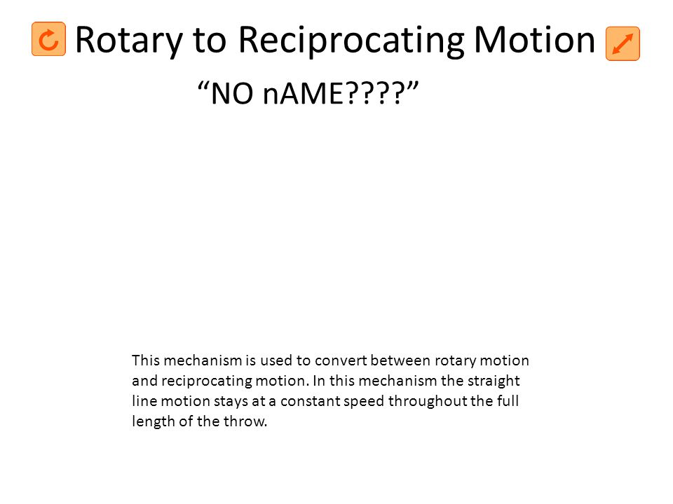 Rotary to Reciprocating Motion This mechanism is used to convert between rotary motion and reciprocating motion. In this mechanism the straight line m