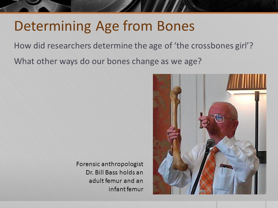 Determining Age from Bones How did researchers determine the age of 'the crossbones girl'.