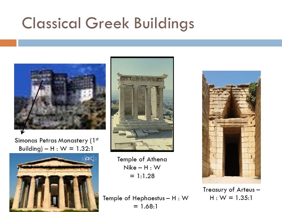 Classical Greek Buildings Simonas Petras Monastery (1 st Building) – H : W = 1.32:1 Temple of Athena Nike – H : W = 1:1.28 Treasury of Arteus – H : W = 1.35:1 Temple of Hephaestus – H : W = 1.68:1