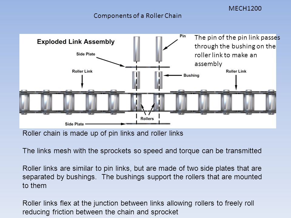 Components of a Roller Chain Roller chain is made up of pin links and roller links The links mesh with the sprockets so speed and torque can be transm