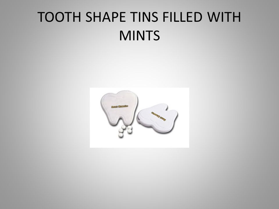 TOOTH SHAPE TINS FILLED WITH MINTS