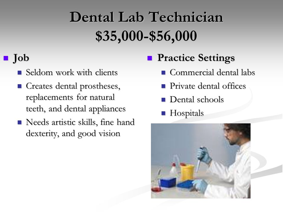 Dental Lab Technician $35,000-$56,000 Job Job Seldom work with clients Seldom work with clients Creates dental prostheses, replacements for natural te