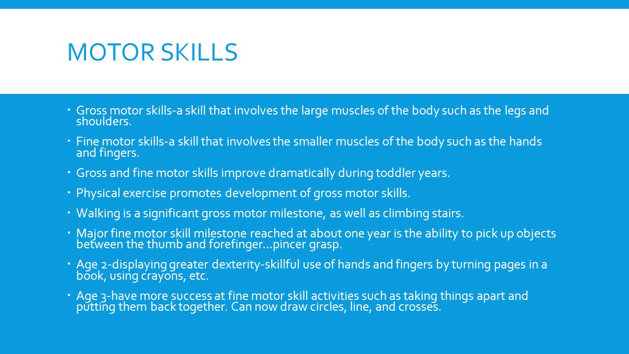 MOTOR SKILLS  Gross motor skills-a skill that involves the large muscles of the body such as the legs and shoulders.  Fine motor skills-a skill that