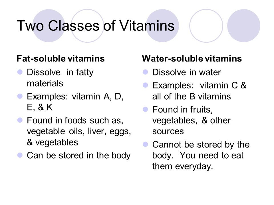 Two Classes of Vitamins Fat-soluble vitamins Dissolve in fatty materials Examples: vitamin A, D, E, & K Found in foods such as, vegetable oils, liver, eggs, & vegetables Can be stored in the body Water-soluble vitamins Dissolve in water Examples: vitamin C & all of the B vitamins Found in fruits, vegetables, & other sources Cannot be stored by the body.