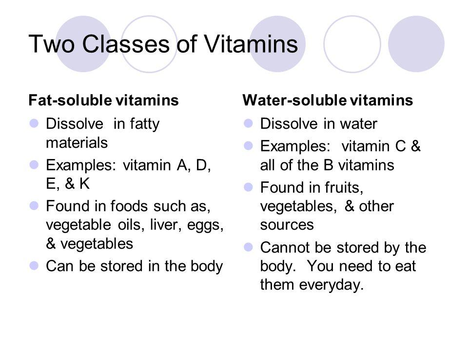 Fat-Soluble Vitamins VitaminsGood SourcesMain Functions ALiver; eggs; cheese, milk; yellow, orange, and dark green vegetables & fruit Maintains healthy skin, bones, teeth, & hair.
