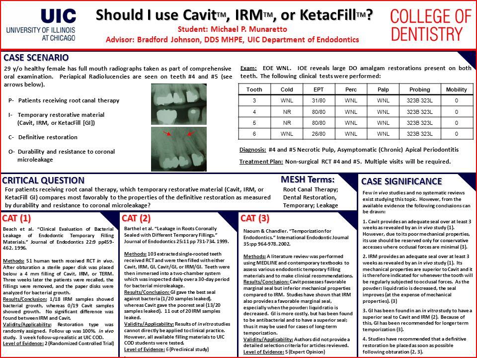 Should I use Cavit TM, IRM TM, or KetacFill TM ? Student: Michael P. Munaretto Advisor: Bradford Johnson, DDS MHPE, UIC Department of Endodontics CASE