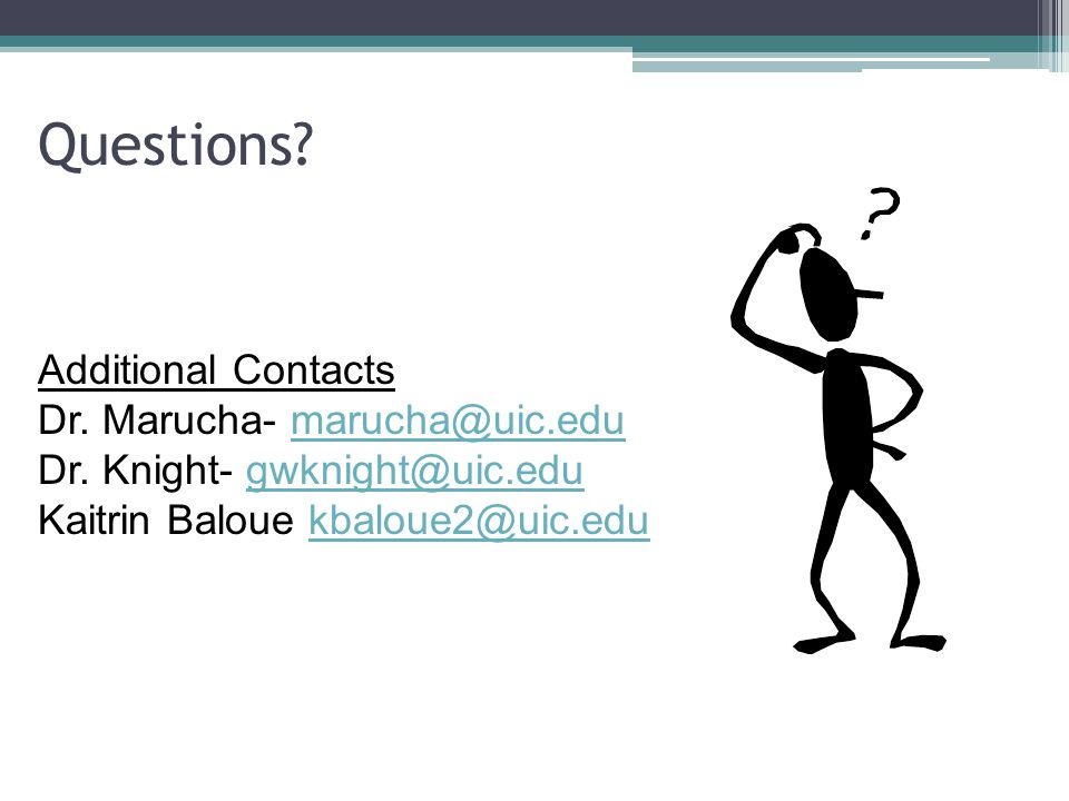 Questions.Additional Contacts Dr. Marucha- marucha@uic.edumarucha@uic.edu Dr.