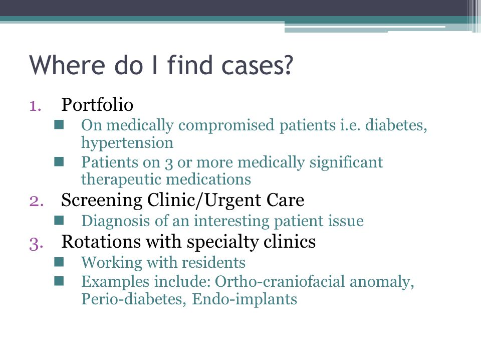 Where do I find cases.1.Portfolio On medically compromised patients i.e.