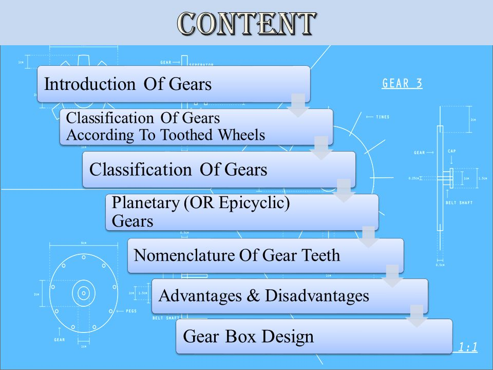 Introduction Of Gears Classification Of Gears According To Toothed Wheels Classification Of Gears Planetary (OR Epicyclic) Gears Nomenclature Of Gear TeethAdvantages & Disadvantages Gear Box Design
