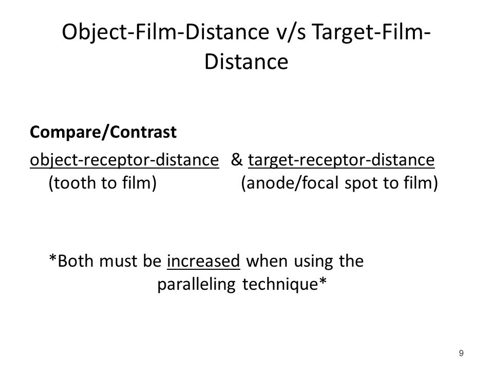 9 Object-Film-Distance v/s Target-Film- Distance Compare/Contrast object-receptor-distance & target-receptor-distance (tooth to film) (anode/focal spot to film) *Both must be increased when using the paralleling technique*