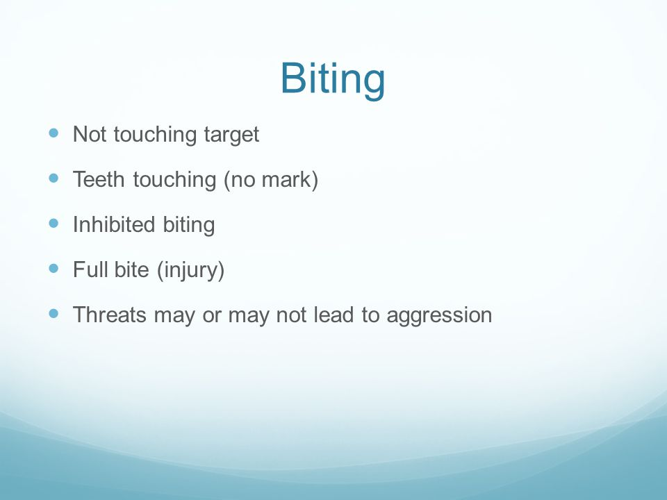 Biting Not touching target Teeth touching (no mark) Inhibited biting Full bite (injury) Threats may or may not lead to aggression