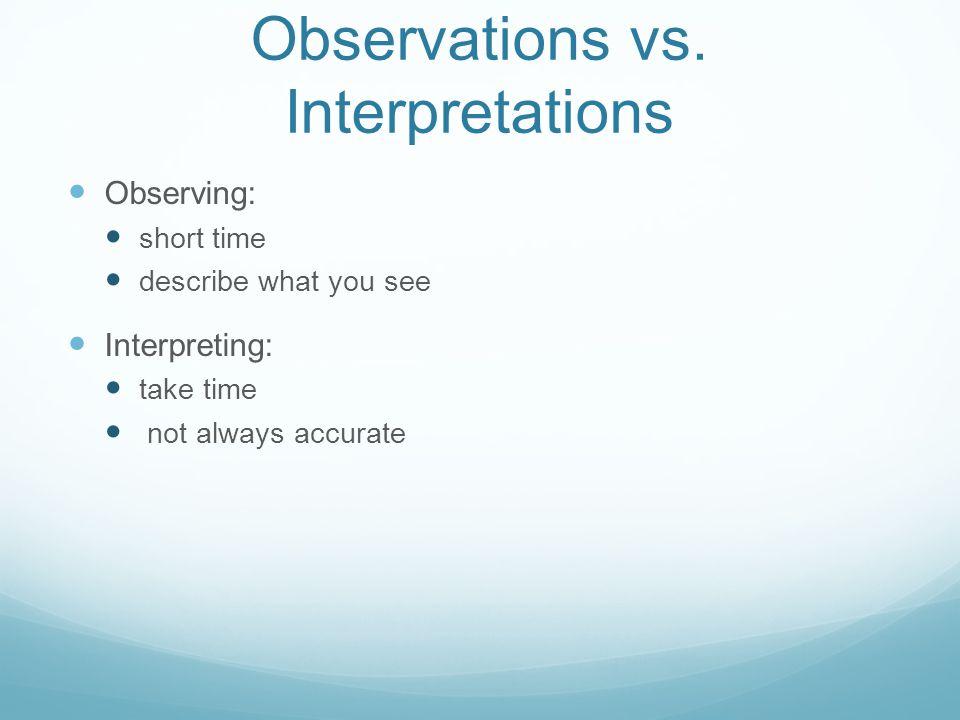Observations vs.