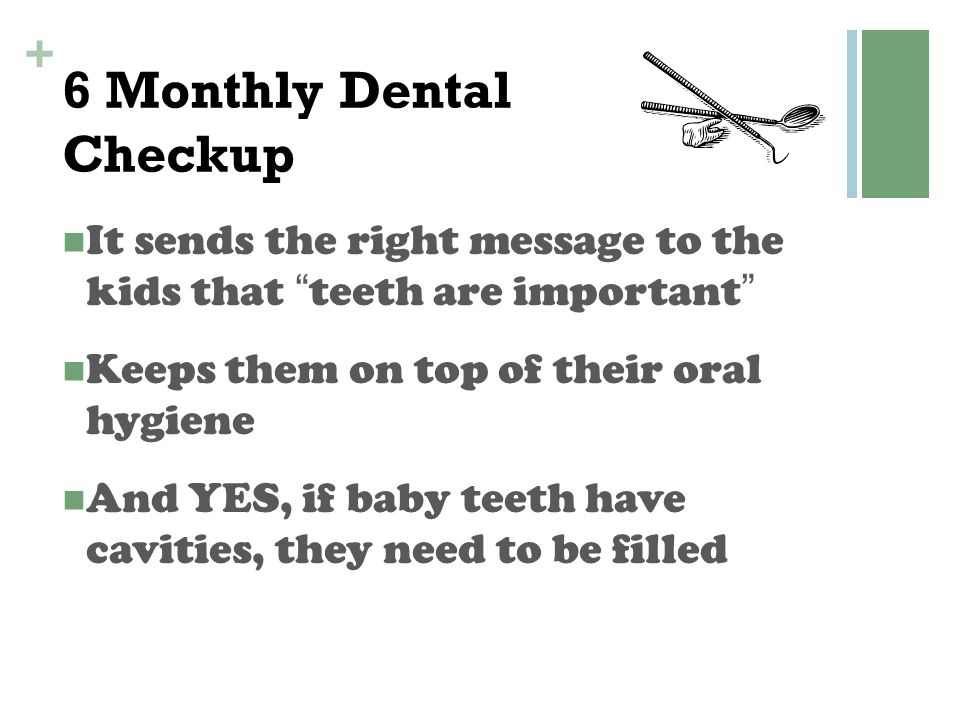 """+ 6 Monthly Dental Checkup It sends the right message to the kids that """"teeth are important"""" Keeps them on top of their oral hygiene And YES, if baby"""