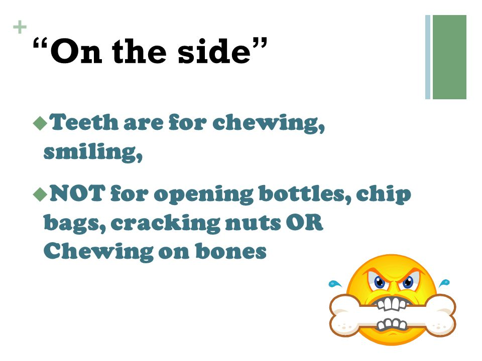 """+ """"On the side""""  Teeth are for chewing, smiling,  NOT for opening bottles, chip bags, cracking nuts OR Chewing on bones"""