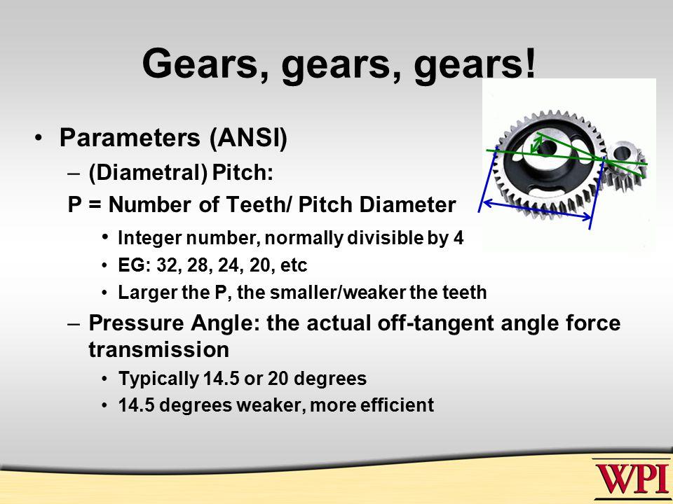 Gears, gears, gears.