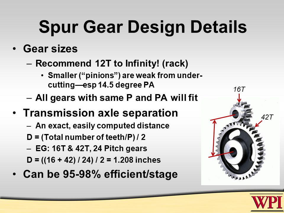 Spur Gear Design Details Gear sizes –Recommend 12T to Infinity.