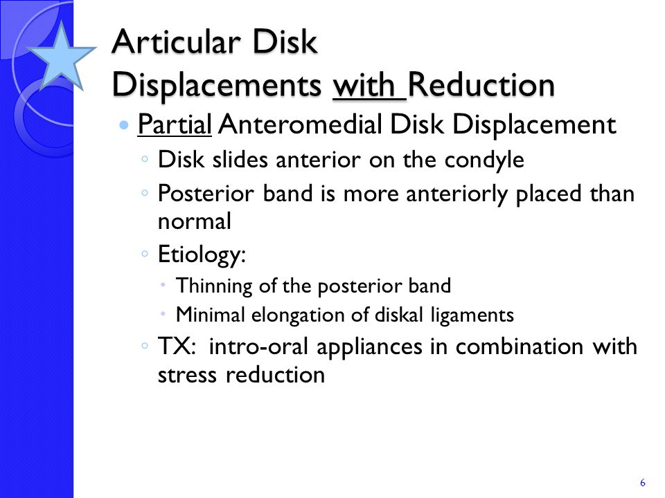 Subluxation versus Reduction of Displaced Disk Subluxed Disk: ◦ Occurs only on wide opening ◦ Does not occur with protrusion or lateral deviation ◦ Pain is not always present Reduction Disk: ◦ Occurs on opening for stage I, closing (except in stage 1) and protrusion and contra-lateral lateral deviation 27