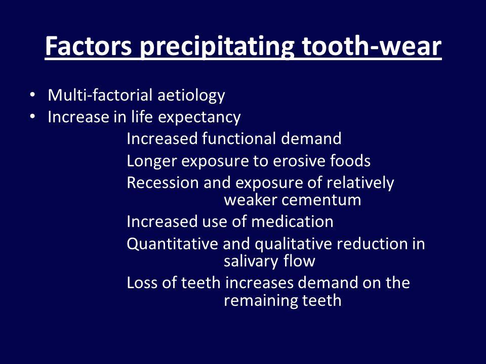 Factors precipitating tooth-wear Multi-factorial aetiology Increase in life expectancy Increased functional demand Longer exposure to erosive foods Re