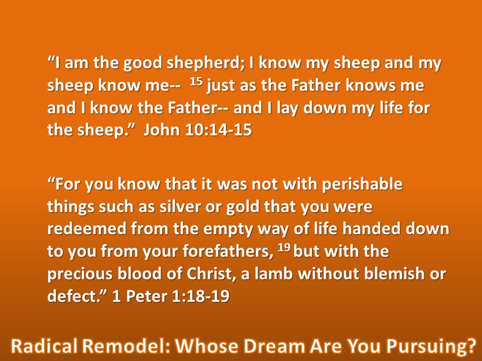 I am the good shepherd; I know my sheep and my sheep know me-- 15 just as the Father knows me and I know the Father-- and I lay down my life for the sheep. John 10:14-15 For you know that it was not with perishable things such as silver or gold that you were redeemed from the empty way of life handed down to you from your forefathers, 19 but with the precious blood of Christ, a lamb without blemish or defect. 1 Peter 1:18-19