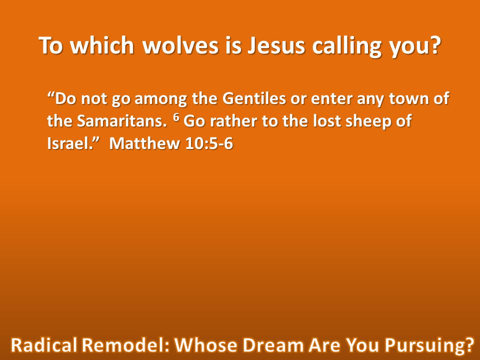 To which wolves is Jesus calling you.