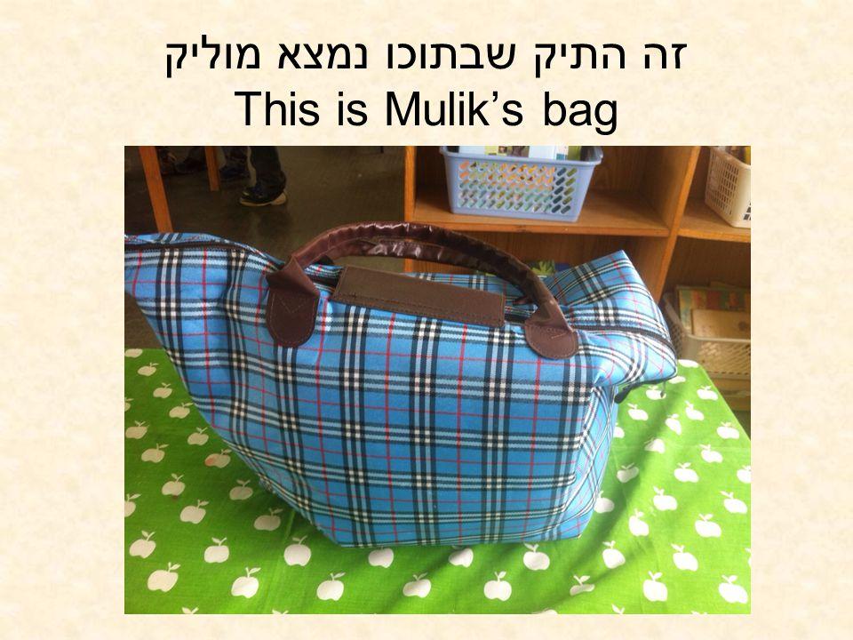 זה התיק שבתוכו נמצא מוליק This is Mulik's bag