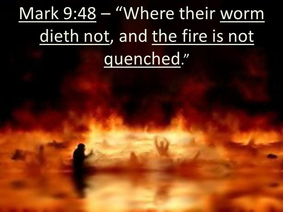 Mark 9:48 – Where their worm dieth not, and the fire is not quenched.