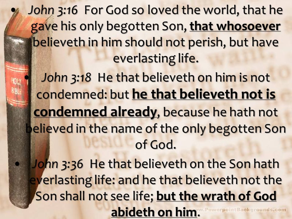 John 3:16 For God so loved the world, that he gave his only begotten Son, that whosoever believeth in him should not perish, but have everlasting life.John 3:16 For God so loved the world, that he gave his only begotten Son, that whosoever believeth in him should not perish, but have everlasting life.
