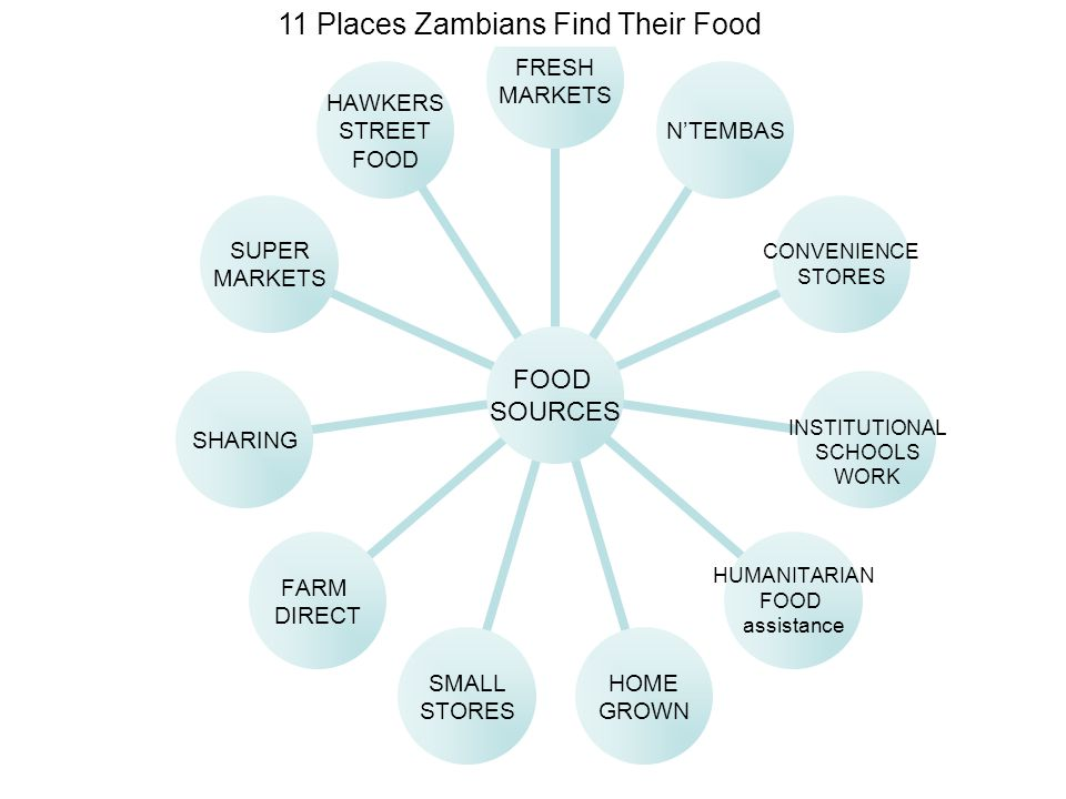 FOOD SOURCES FRESH MARKETS N'TEMBAS CONVENIENCE STORES INSTITUTIONAL SCHOOLS WORK HUMANITARIAN FOOD assistance HOME GROWN SMALL STORES FARM DIRECT SHARING SUPER MARKETS HAWKERS STREET FOOD 11 Places Zambians Find Their Food
