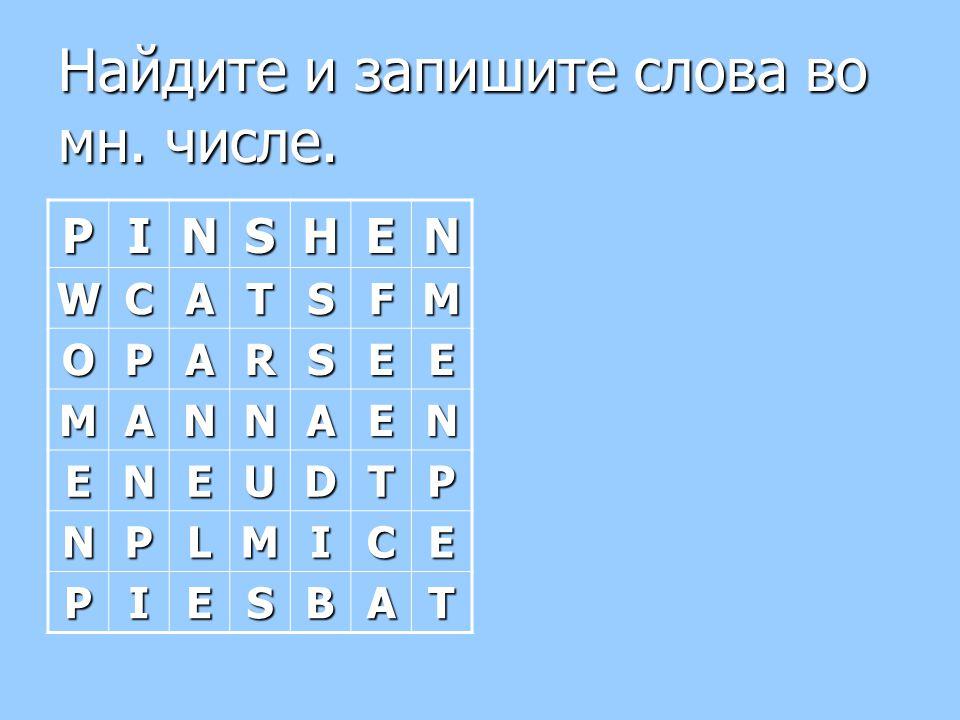 Найдите и запишите слова во мн. числе. PINSHEN WCATSFM OPARSEE MANNAEN ENEUDTP NPLMICE PIESBAT