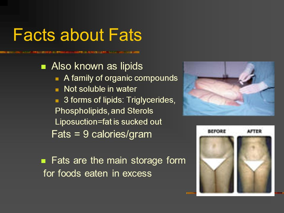 Facts about Fats Also known as lipids A family of organic compounds Not soluble in water 3 forms of lipids: Triglycerides, Phospholipids, and Sterols