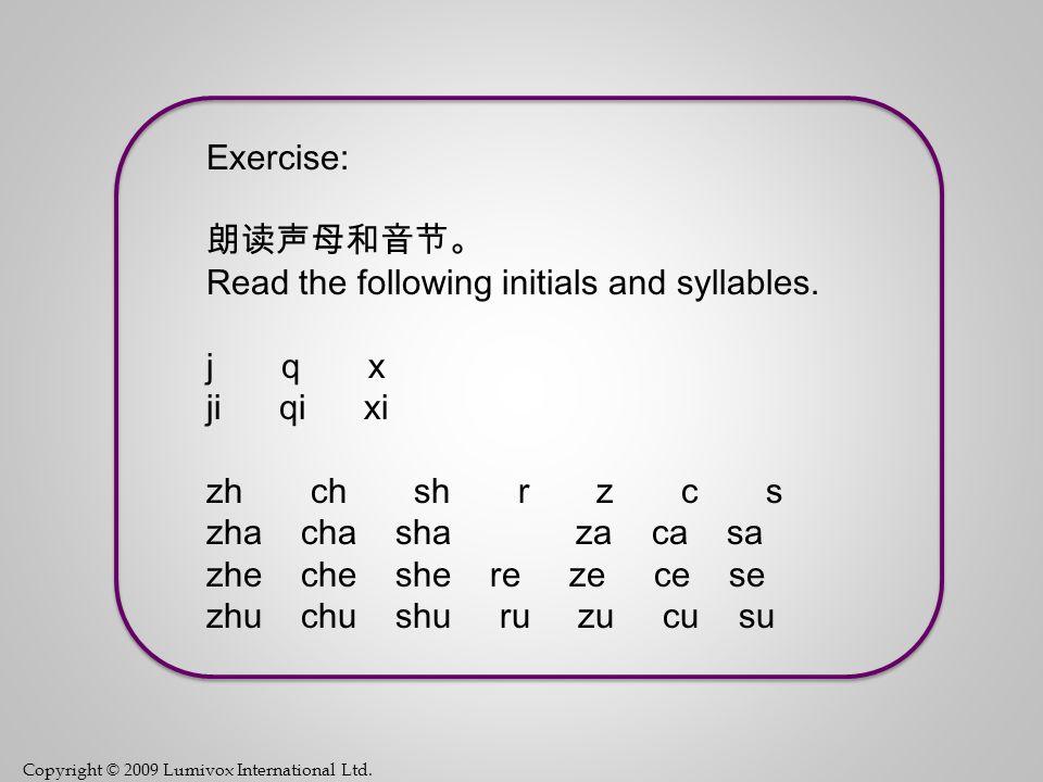 Copyright © 2009 Lumivox International Ltd. 2-Initials zh like 'j' in 'jam' ch like 'ch' in 'cheap' sh like 'sh' in 'ship' r like 's' in 'pleasure' (y