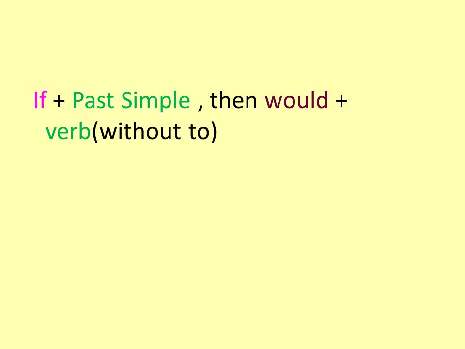 If + Past Simple, then would + verb(without to)