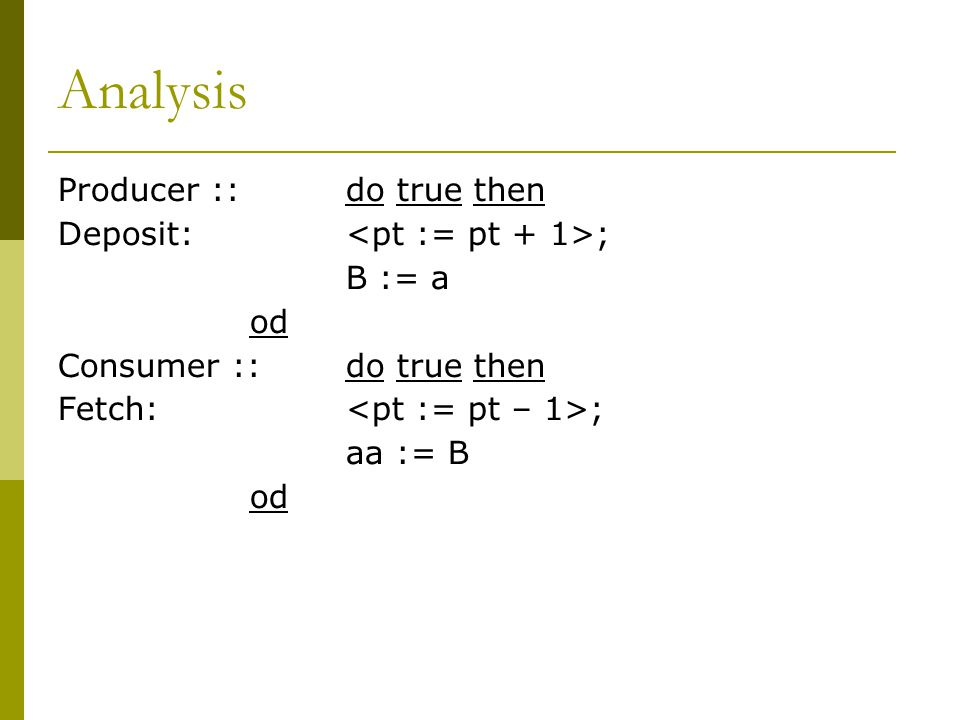 Analysis Producer ::do true then Deposit: ; B := a od Consumer ::do true then Fetch: ; aa := B od