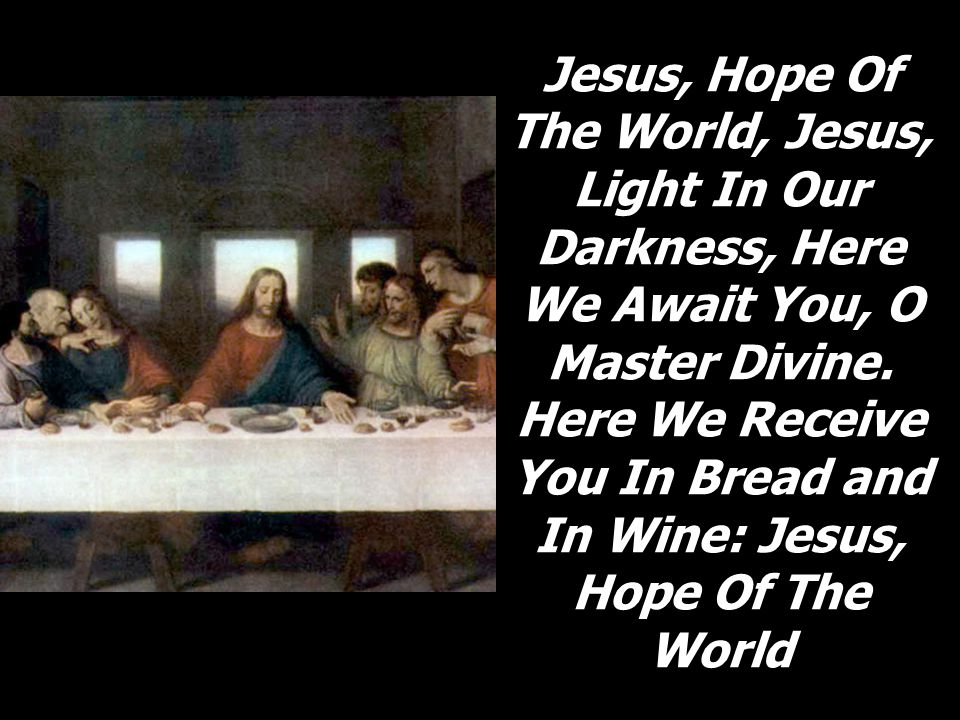 Jesus, Hope Of The World, Jesus, Light In Our Darkness, Here We Await You, O Master Divine. Here We Receive You In Bread and In Wine: Jesus, Hope Of T