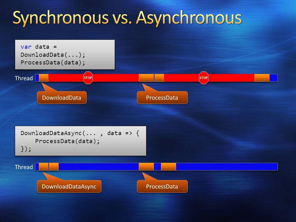var data = DownloadData(...); ProcessData(data); var data = DownloadData(...); ProcessData(data); DownloadDataAsync(..., data => { ProcessData(data); }); DownloadDataAsync(..., data => { ProcessData(data); });