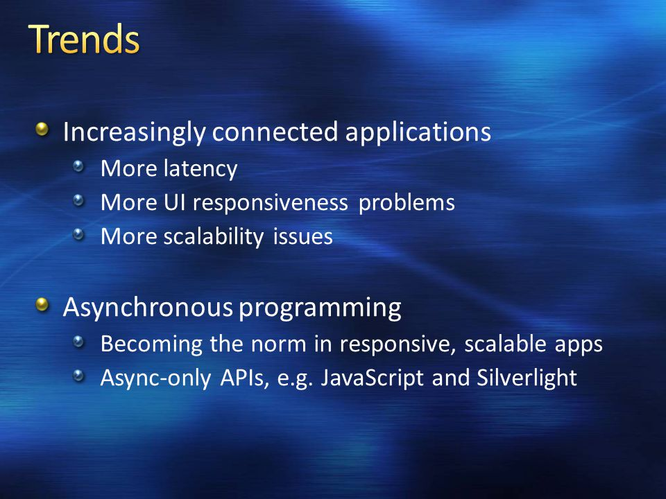 C# 1.0 Managed Code C# 2.0 Generics C# 3.0 Language Integrated Query C# 4.0 Dynamic Typing Asynchronous Programming C# v.Next